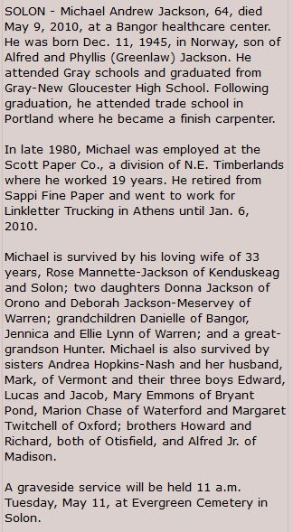 Obituary for Michael Andrew Jackson