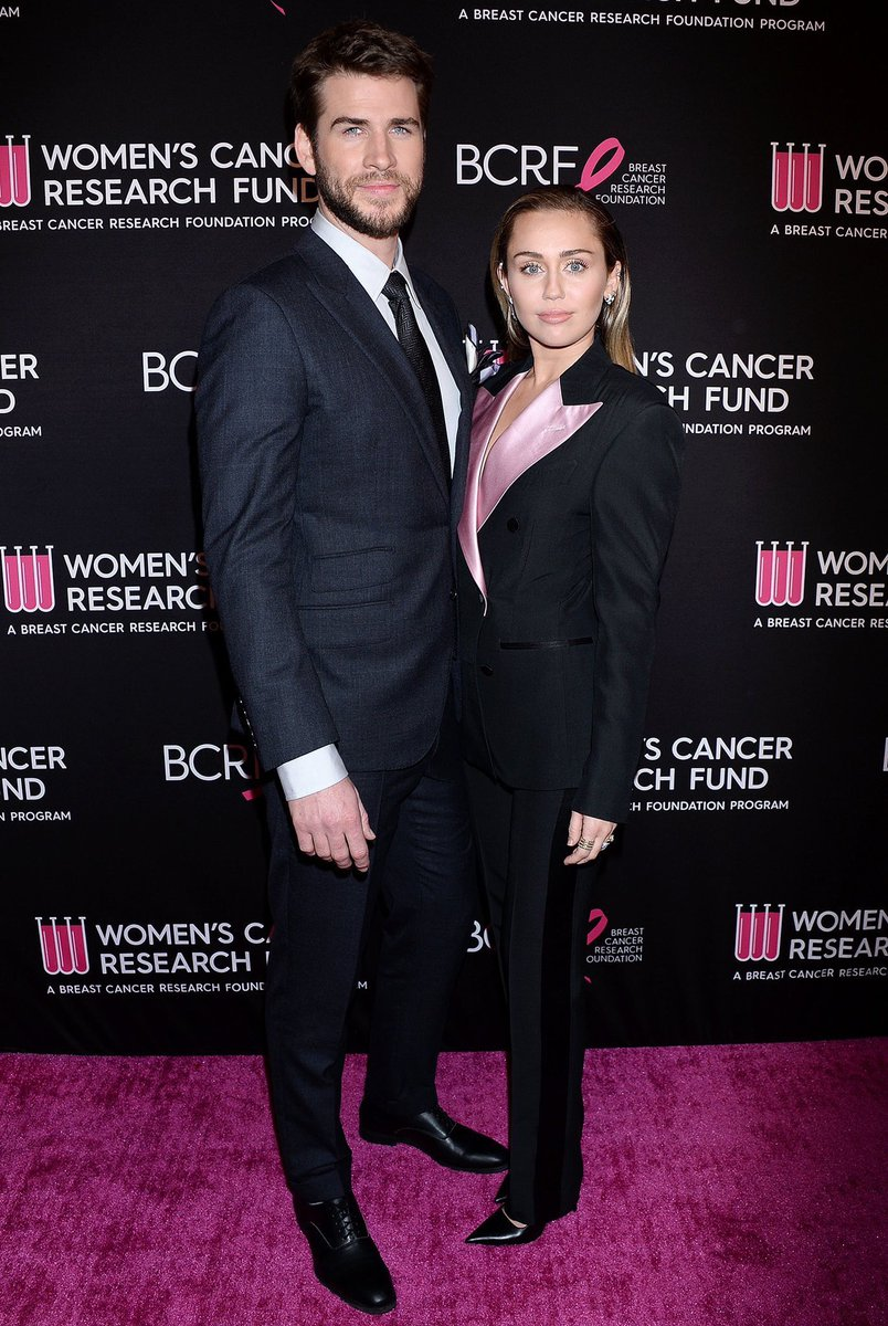 Miley Cyrus and husband Liam Hemsworth suit up for Beverly Hills breast cancer benefit Gala