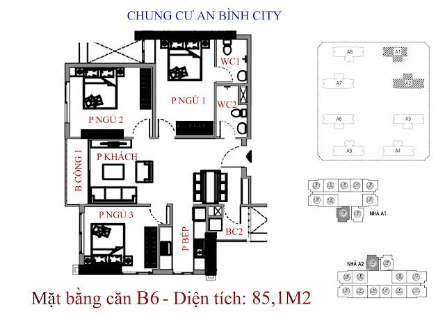 căn hộ B6 diện tích 85,1m2