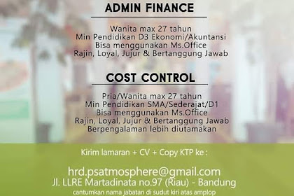 Info Lowongan Kerja Paviliun Sunda Admin Finance Cost Control Bandung