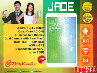 ZH&K Mobile Jade, 8-inch Quad Core KitKat Tablet