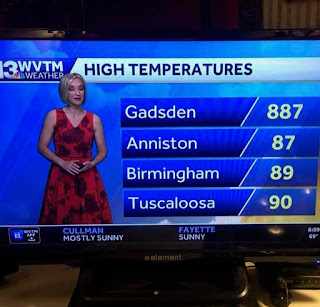 TV weather forecast, listing Gadsden at high of 887 degrees Fahrenheit.