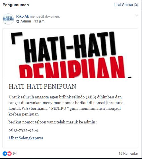 Himbauan Dari Group Facebook Agen Brilink Selindo Siajun Com