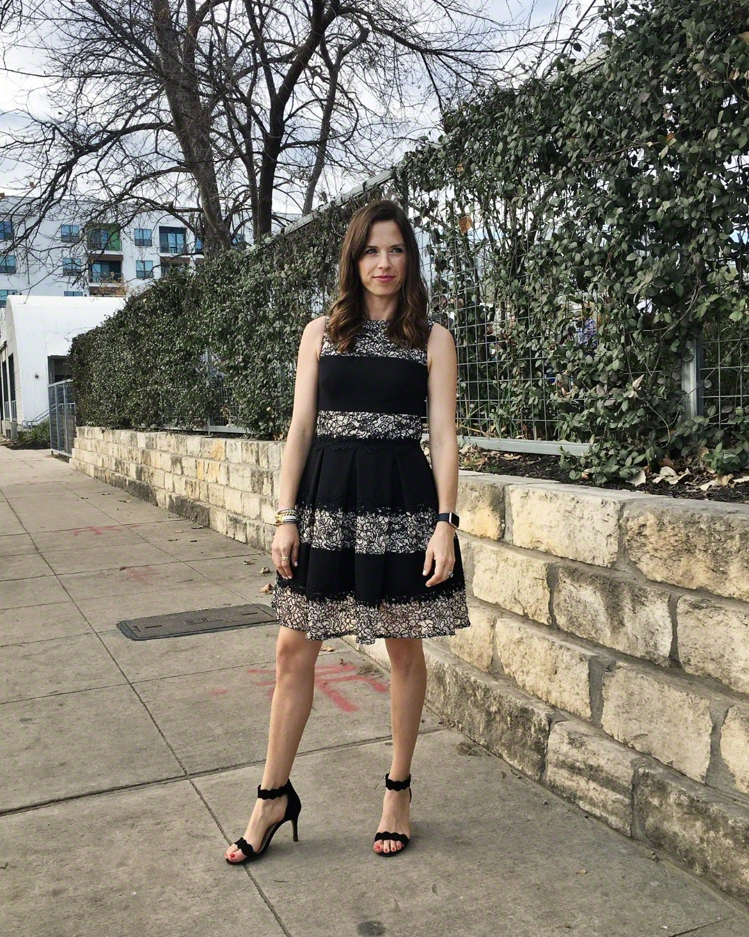 black striped lace dress