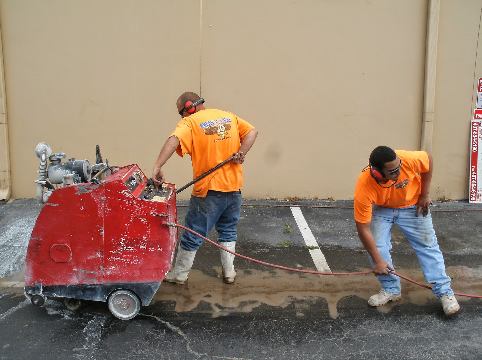 Concrete and asphalt slab sawing and removal in Orlando, Florida by American Eagle Concrete Services