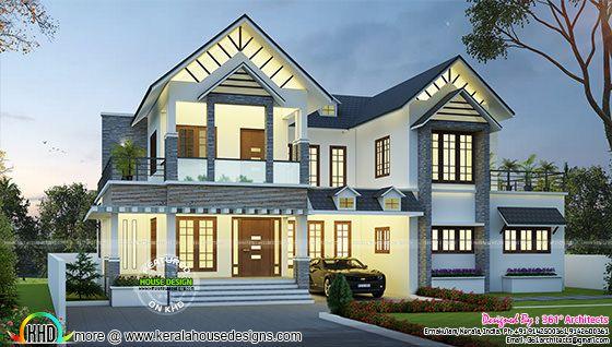 3057 sq-ft European model house plan