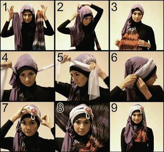 Gambar Tutorial Jilbab Pashmina Wajah Bulat
