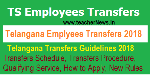 TS Employees Transfers Schedule 2018 –Transfer Application Form, Guidelines Rules GO 61