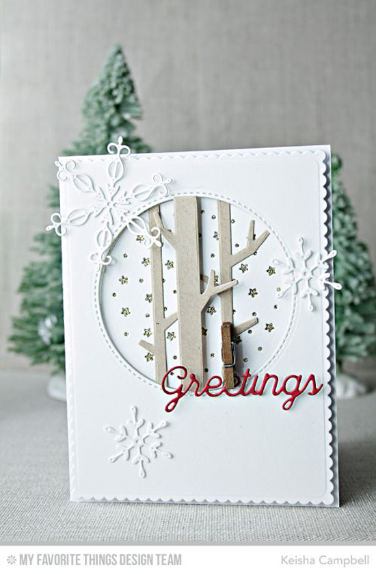 Handmade card from Keisha Campbell featuring Stylish Snowflakes, Solid Birch Trees, Peaceful Words, and Starry Circle Die-namics #mftstamps