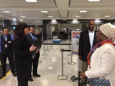 Aisha Buhari departing from US