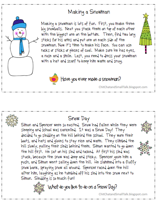 Chit Chat And Small Talk S Loaded Paragraphs For Winter