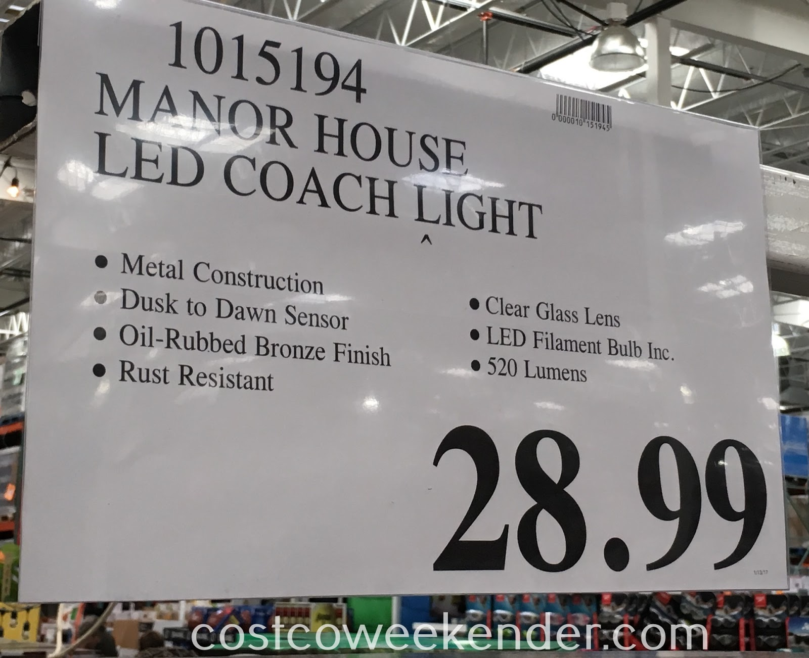 Deal for the Manor House Vintage LED Coach Light at Costco