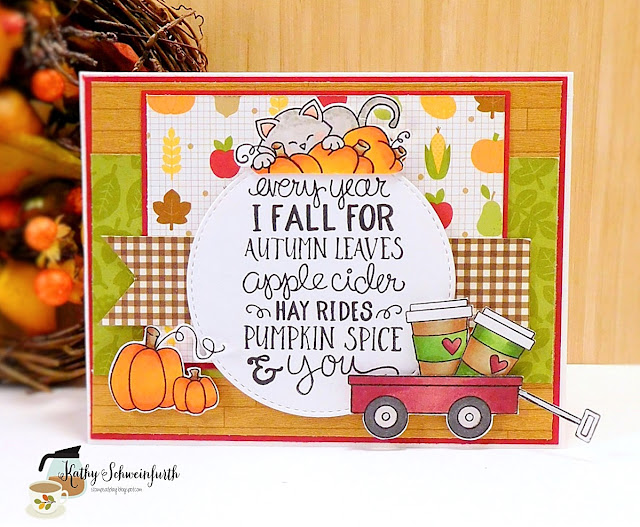 Fall for autumn leaves by Kathy features Newton Loves Coffee, Fall-ing for You, Wagon of Wishes by Newton's Nook Designs; #newtonsnook