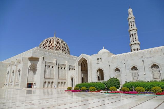 gross, Sultan, Qabus, Moschee, Muscat, Oman, Pflanzen, weiss, Marmor