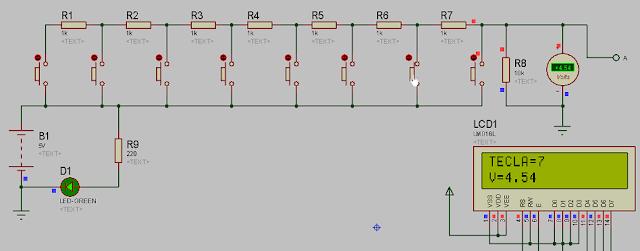 Kit teclado por un solo pin simulación Proteus.