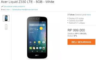 Acer Liquid Z330 Android murah 4G turun harga