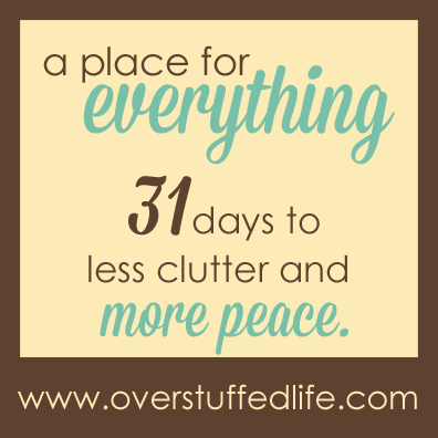 A 31 Day Challenge to help you get rid of clutter and find more peace in your life.