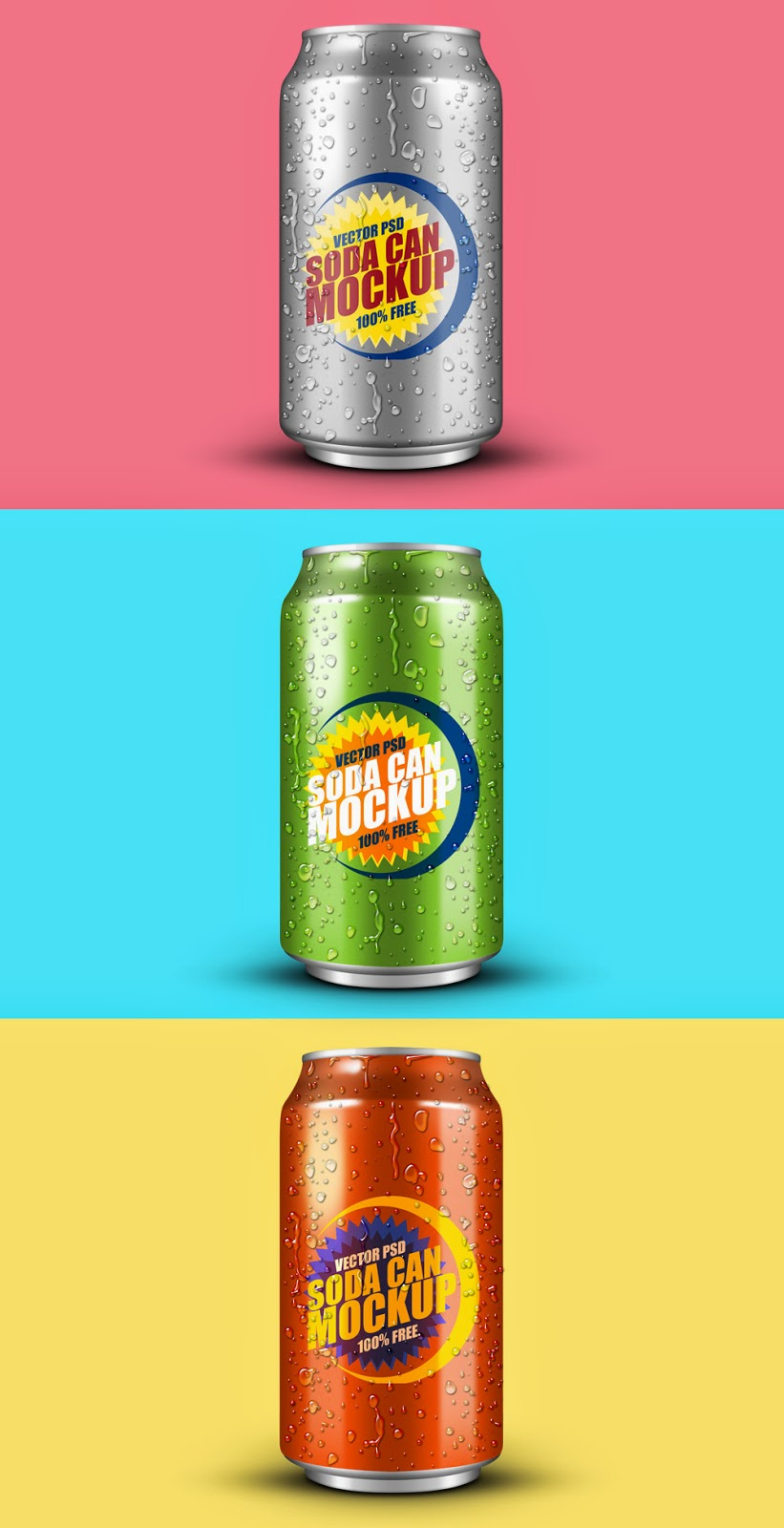 Soft Drink Can Mockup PSD