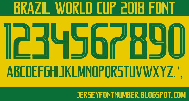 Brazil World Cup 2018 Font Free Download - Jersey Font number