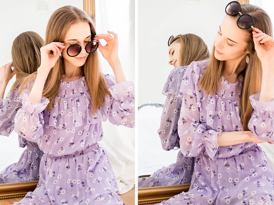 Summer fashion 2020: lilac floral dress and sunglasses - Kesämuoti 2020: violetti kukkamekko ja aurinkolasit