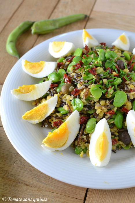 Salade de riz sauvage, lentilles corail et fèves