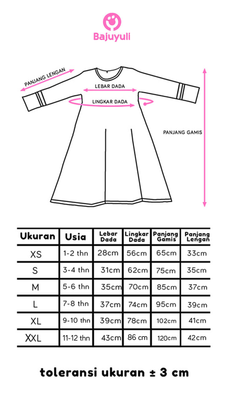size chart gamis anak perempuan Bajuyuli
