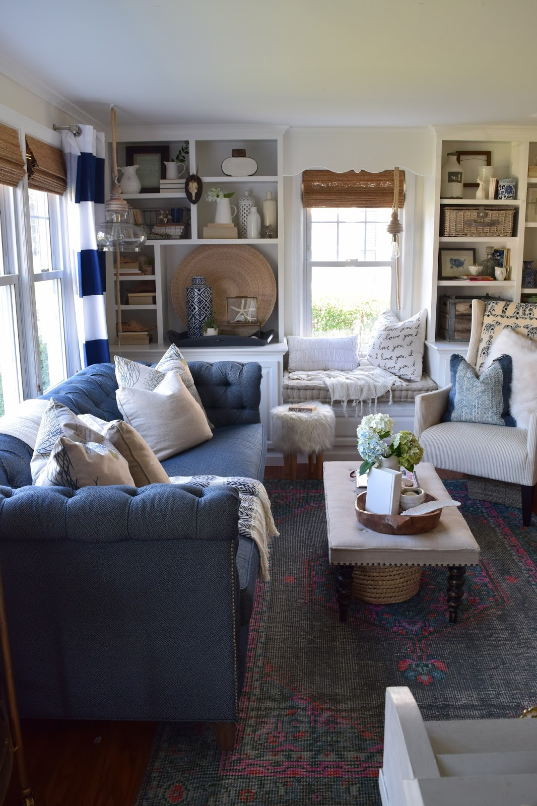 Abbie Sofa Navy Sky Blue Sectional Curtains Window And Seats On Pinterest