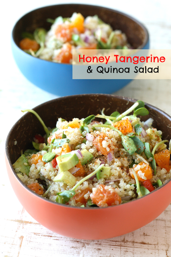 Honey Tangerine & Quinoa Salad with Asian Citrus Vinaigrette by SeasonWithSpice.com