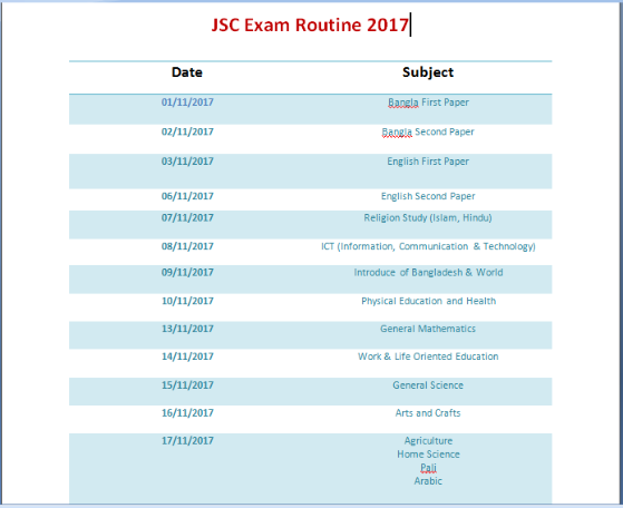 jsc exam routine 2017