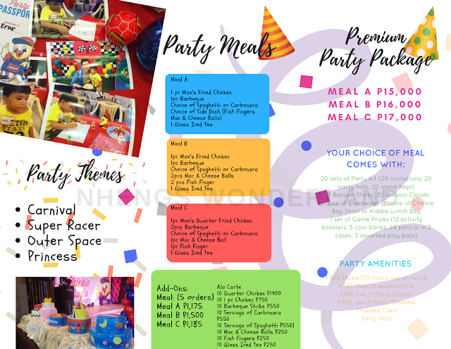 Max's Party Themes, Party Meals and Party Package