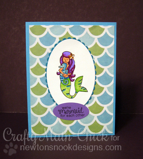 Mermaid card by Crafty Math-Chick | Mermaid Crossing Stamp Set by Newton's Nook Designs #mermaid #newtonsnook