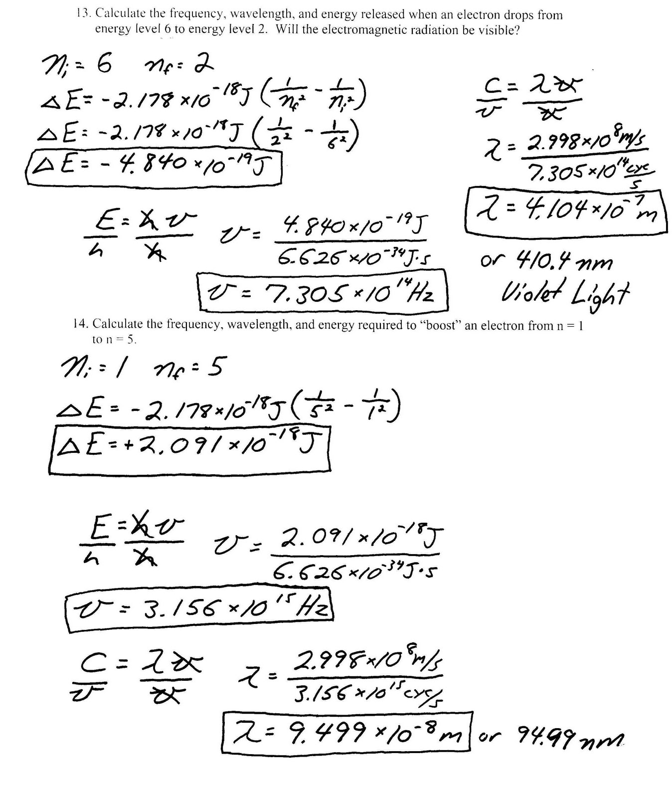 Heritage High School Chemistry 11 Light Bohr Model Packet Key