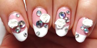 Rhinestone and Rose Nails