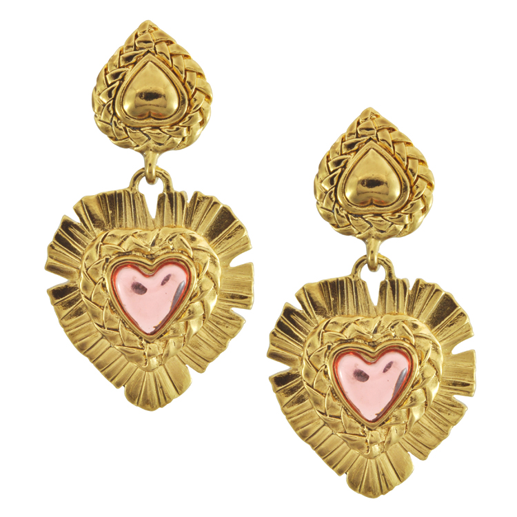 18a613f1ee6 Vintage Yves Saint Laurent, Ornate Pink Heart Drop Earrings Available at  Sophie's Closet Showroom Price upon request