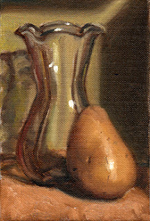 Oil painting of a tulip-shaped glass vase beside a white potato.