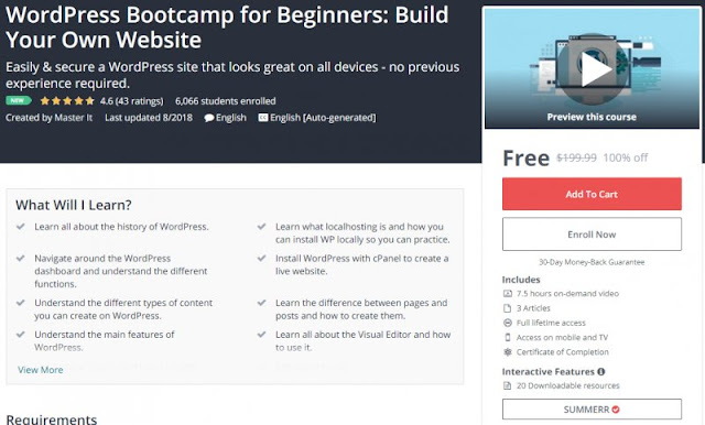 [100% Off] WordPress Bootcamp for Beginners: Build Your Own Website  Worth 199,99$