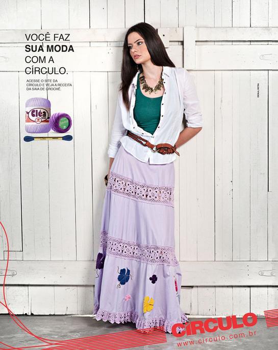 Falda Combinada Algodon con Crochet