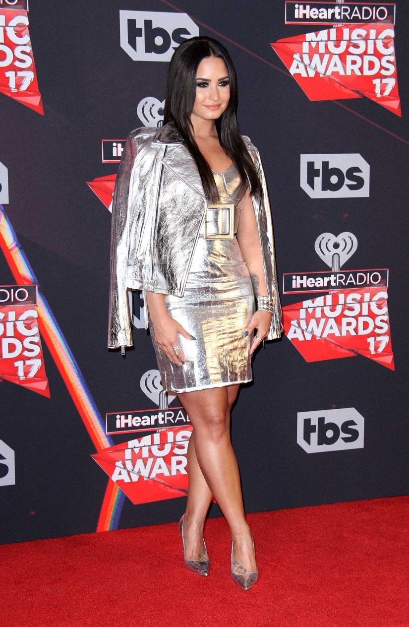 Demi Lovato shines in silver at the 2017 iHeartRadio Music Awards in LA