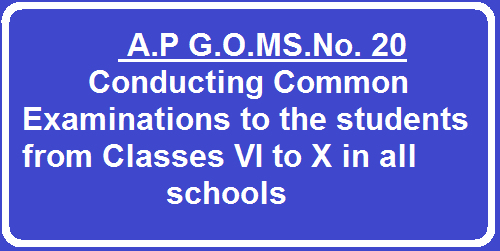School Education Department A.P G.O.MS.No. 20 Conducting Common Examinations to the students from Classes VI to X in all schools| Conducting Common Examinations to the students from Classes VI to X in all schools in the State of Andhra Pradesh irrespective of managements – Orders Issued. /2016/04/ap-gomsno-20-conducting-common-exams-to-the-students-from-classes-IV-to-X-in-the-schools.html