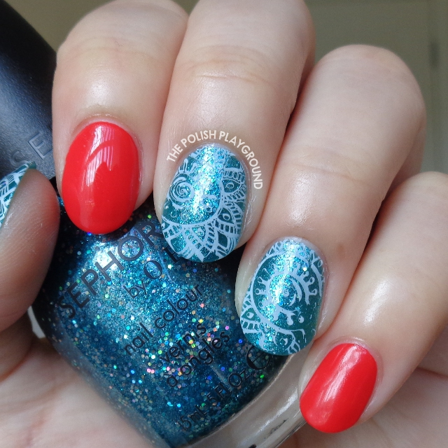 Red with Blue Glitter and White Faded Stamping Nail Art