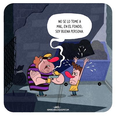 un hombre siendo asaltado, Humor Carolo, Jarúl, Humor gráfico dominicano, yosoyjarul, jarúl ortega, jarul, barriga creativa, humor carolo, robo, asalto, atraco,