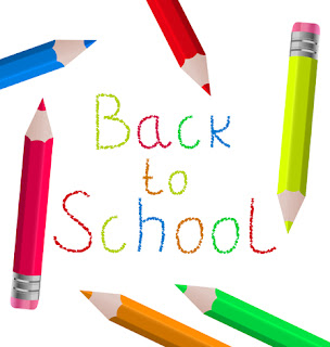 Clipart image of colouring pencils forming a frame around the words back to school