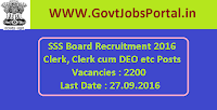 SSS Board Recruitment 2016 for 2200 Various Posts Apply Online Here