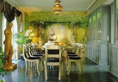 Colorida pintura con un aspecto de profundidad en la pared muy realista