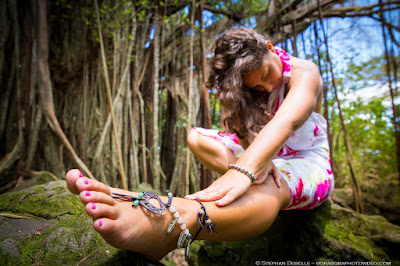 Fun Yoga shoot in the Jungle of Bora Bora!