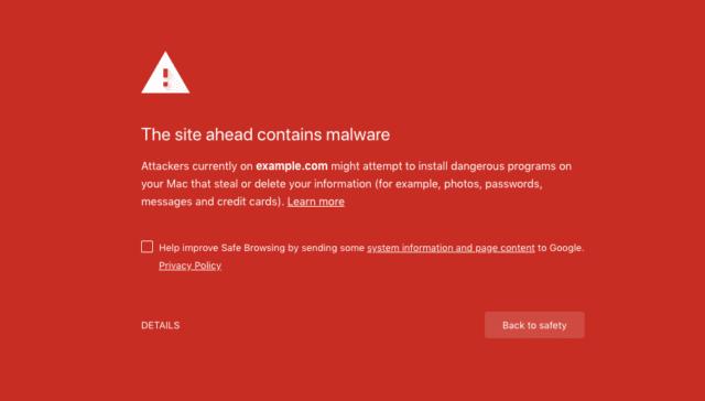 Hidden Chrome Page menampilkan semua peringatan Interstitial dari Google