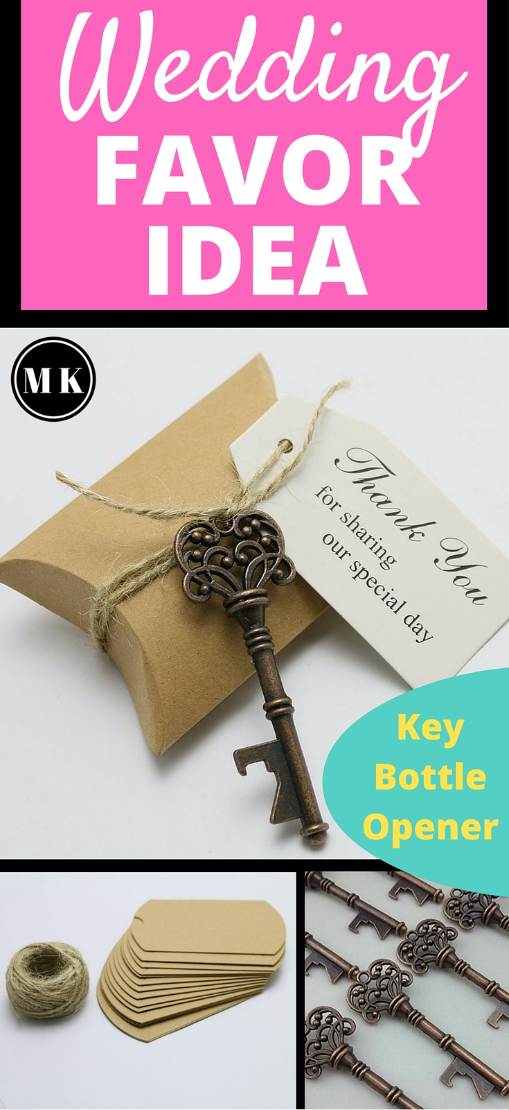 "Antique Skeleton Key Bottle Opener and Candy Box Wedding Favor Kit - What I love about this unique ""thank you"" gift for your guests is that they not only get the sweets that you put inside the favor box that they can enjoy right away, but they also get a useful key bottle opener to keep forever and remember your wedding by! Plus, they look awesome! These arrive as a kit that are easy to put together, but if you want a little more DIY, I have some great ideas on how you can personalize them!"
