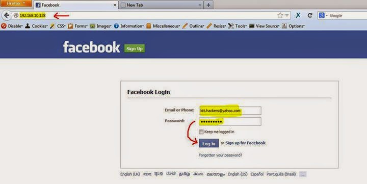 how to open facebook without password using html
