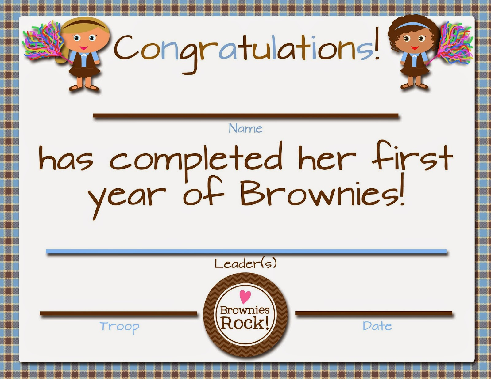 Free printable girl scout volunteer certificates just b for Girl scout award certificate templates