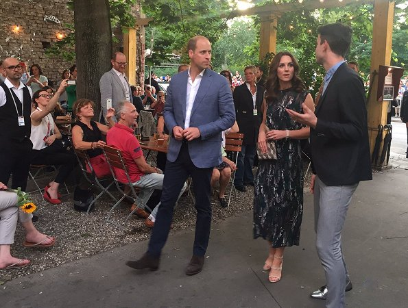 Kate Middleton - Duchess Catherine wore a bird print jacquard dress from Markus Lupfer Pre Autumn/Winter 2017 Collection. Prada Quazo Sandals